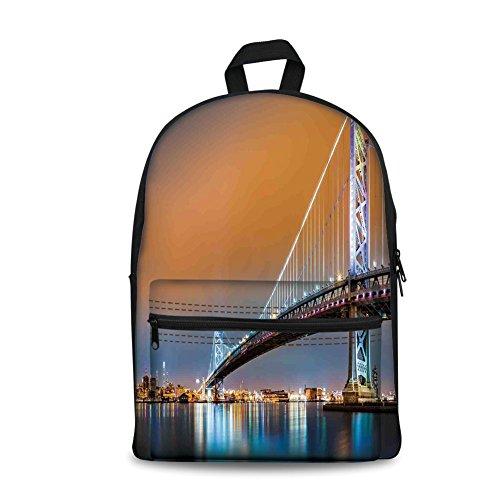Best deals Design the fashion Kids Back School Backpack, Canvas Book Bag,Apartment Decor,Ben Franklin Bridge and Philadelphia