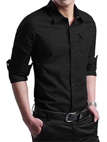 JZOEOEU Men's Casual Cotton Dress Shirt Long Sleeve Slim Fit Button Down Shirts Black Aisan L (US XS)