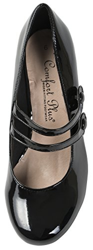 Mary Mid Black Lora Dora Patent Heel Comfort Womens Jane Shoes q66HUP