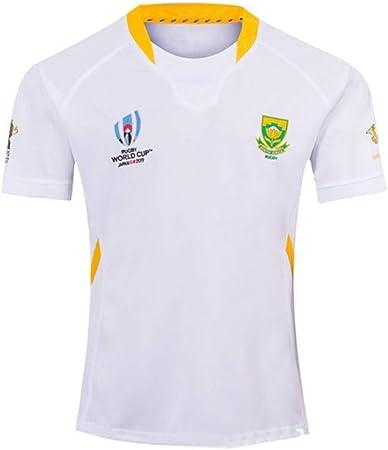 2019 Coppa del Mondo Sud Africa A casa e Fuori casa Maglietta da Calcio ZHENN Maglia da Rugby Maglietta Sportiva Casual da Uomo,Bianca,S