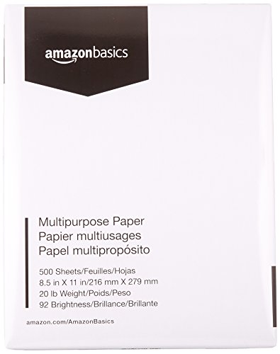 AmazonBasics 92 Bright Multipurpose Copy Paper - 8.5 x 11 Inches, 1 Ream (500 Sheets) - 500 White Paper