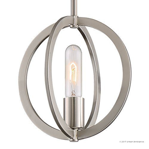 Luxury Globe Pendant, Small Size: 9''H x 9''W, with Old World Style Elements, Orbital Sphere Design, Pretty Brushed Nickel Finish and Open Circle Shade, UQL2554 by Urban Ambiance by Urban Ambiance (Image #6)
