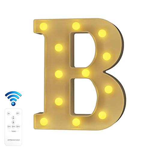 YOUZONE Newly Upgrade LED Letter Lights Marquee Alphabet Light Up Letters with Remote Control Timer Dimmable Battery Powered for Events Wedding Party Birthday Home Bar Decoration (RC-B)