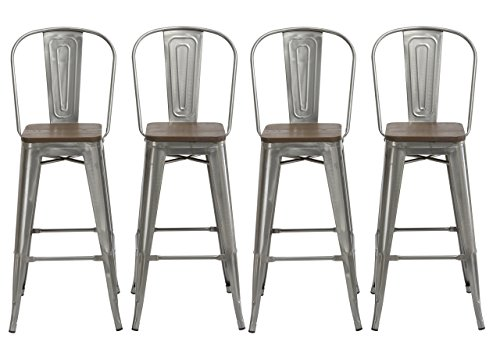 BTEXPERT 30 Industrial Clear Metal Vintage Antique Style Distressed Brush Rustic Dining Counter Height Bar Stool Chair High Back Handmade Wood top seat Set of 4 Barstool