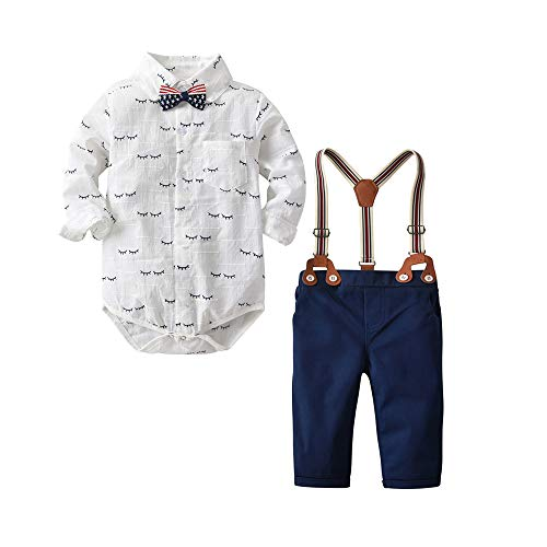 Baby Boys Gentleman Outfit Suits,Infant Toddler Boys Pants Set,Long Sleeve Romper Shirt+Suspender Pants+Suspender Pants+ Bow Tie 4Pcs Clothing Set (White Eyelash, 6-9M/70) -