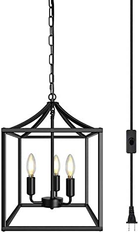 3-Light Plug in Black Farmhouse Chandelier Industrial Lighting Fixture Rustic Pendant Light for Kitchen Island Dining Room Bedroom Foyer