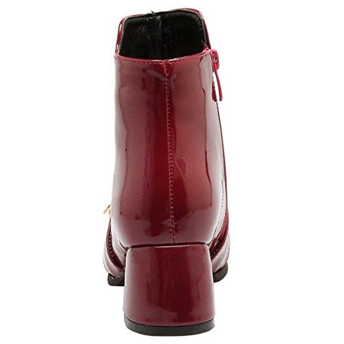 AIYOUMEI Damen Lack Herbst Winter Stiefeletten mit Schnalle und Reißverschluss 5cm Absatz Kurzschaft Stiefel Weinrot