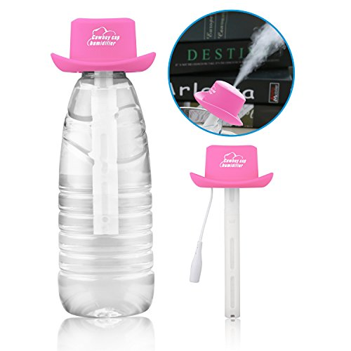 Ashbringer Personal Mini Air Humidifier- Portable Cool Mist Humidifier Diffuser,Creative Cowboy Hat Design for Office/Car/Home (Pink) by Ashbringer