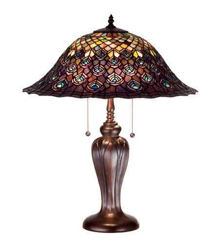 (Tiffany Peacock Feather Table Lamp)