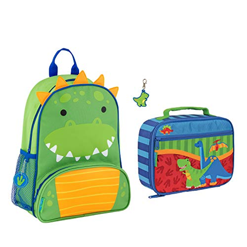 Stephen Joseph Boys Sidekick Dinosaur Backpack and Lunch Box with Zipper Pull