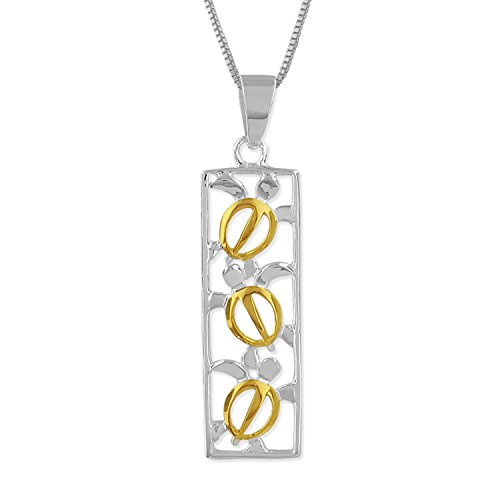 Sterling Silver with 14kt Yellow Gold Plated Accents Turtle Vertical Bar Pendant Necklace, 16+2