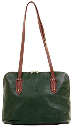 Green a amp; Branded Handled Leather Brown Bag Protective Primo Storage Bag Italian Shoulder Handbag Sacchi® Soft Long Large Includes qxaBFTP
