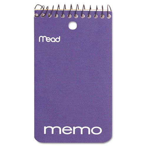 Mead 45354 Memo Book, College Ruled, 3 x 5, Wirebound, Punched, 60 Sheets, Assorted