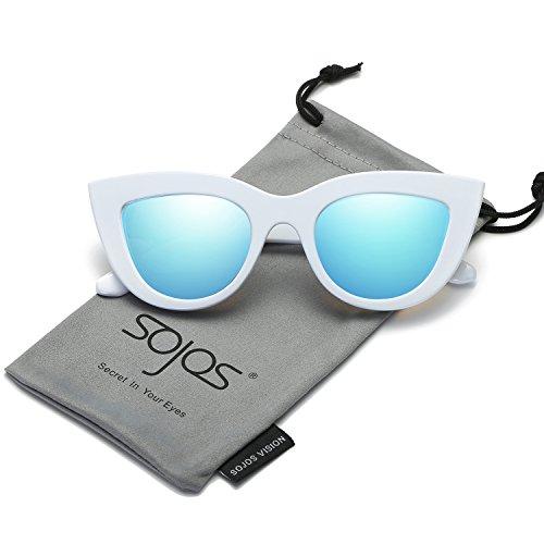 SojoS Retro Vintage Cateye Sunglasses for Women Plastic Frame Mirrored Lens SJ2939 With White Frame/Blue Mirrored (White Cat Eye Sunglasses)