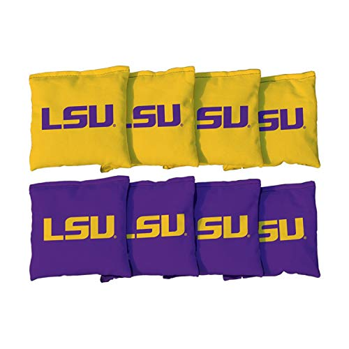 Victory Tailgate NCAA Collegiate Regulation Cornhole Game Bag Set (8 Bags Included, Corn-Filled) - Louisiana State University Tigers