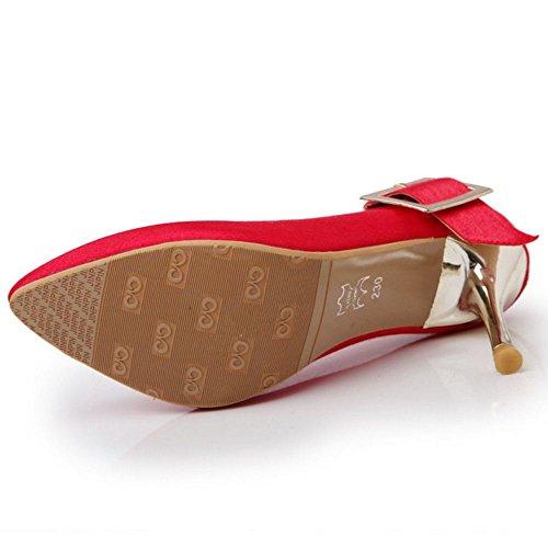 Escarpins Petite Mariage Talons de Femmes Chaussures Soiree Aiguille TAOFFEN Taille Red dxwqR6d47