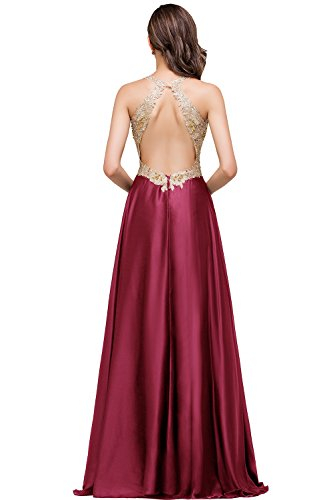 Burgundy Evening Neckline Backless V and Dresses Long line A Black Babyonline Gold xnPZIw4I