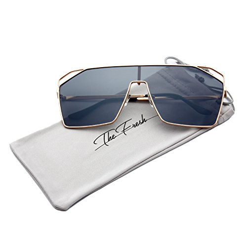 Halloween Contacts Prescription (The Fresh Color Mirror Single Lens Metal Wraparound Shield Sunglasses with Gift Box (Gold, Gun gray))