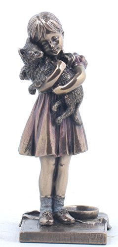 6.25 Inch Burnished Figurine Little Girl holding Pet Cat Bronze -