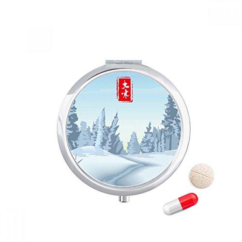 Circular Great Cold Twenty Four Solar Term Travel Pocket Pill case Medicine Drug Storage Box Dispenser Mirror Gift by DIYthinker