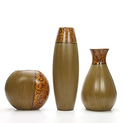 Hosley Set of 3 Burlwood Finish Vases is an Ideal Gift for Weddings or Special Occasion and for Home or Office Decor Floor Vases Spa Aromatherapy Settings O3 - PRODUCT: Hosley's Set of Three Burlwood Vases in a Gift Box. USE: Great for adding a decorative touch to any room's decor. Wonderful accent piece for coffee tables or side tables. Perfect for everyday use, wedding, events, aromatherapy,Spa, Reiki, Meditation. BENEFITS: The vases can acent your home or office for the right decor with or without dry floral or greenery additions. - vases, kitchen-dining-room-decor, kitchen-dining-room - 41owUuz82mL. SS400  -
