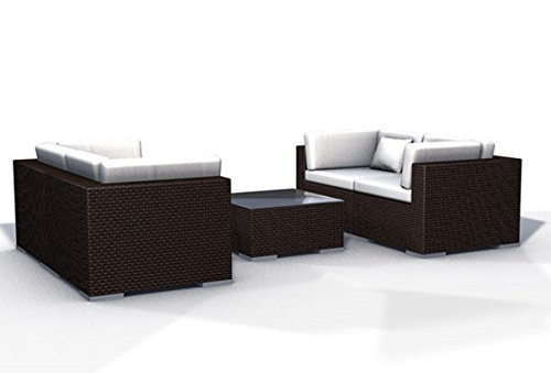 gartenm bel rattan lounge espace start 2a 4 sitze polyrattan dunkelbraun inkl kissen g nstig. Black Bedroom Furniture Sets. Home Design Ideas