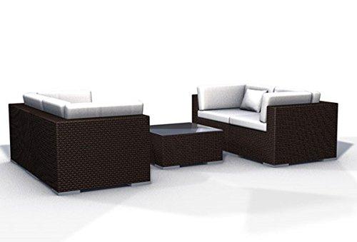 Gartenmöbel Rattan Lounge Espace Start 2a - 4 Sitze Polyrattan, dunkelbraun, inkl.Kissen