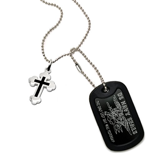 US Navy Seals Logo and Psalm Prayer Engraved Aluminum Dog Tags Necklace with Cross Pendant (Logo State Pendant)
