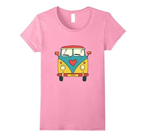 Womens Vintage Hippie Bus - Cute Van T-Shirt XL Pink