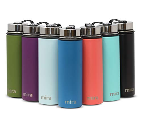 MIRA 22 Oz Stainless Steel Vacuum Insulated Wide Mouth Water Bottle | Thermos Keeps Cold for 24 Hours, Hot for 12 Hours | Double Wall Powder Coated Travel Flask | Hawaiian Blue