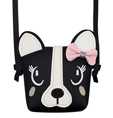 Bags us Fashion Cute Dog Bowknot Single Shoulder Bag Coin Purse Small Crossbody Satchel handbags Wallet for Kids Girls(5.9X5.1in)