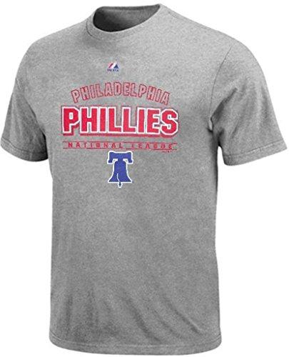 VF Philadelphia Phillies MLB Mens Majestic Hit Tee Shirt Gray Big & Tall Sizes (2XL)
