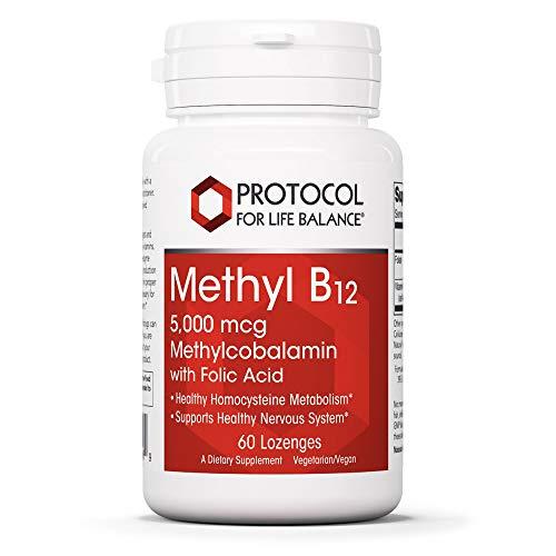 Protocol For Life Balance - Methyl B12 5,000 mcg Methylcobalamin with Folate (Folic Acid) - Supports Homocysteine Metabolism, Healthy Nervous System, Brain Function, & Digestive System - 60 Lozenges