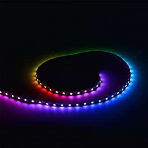 Mokungit 3.2FT 1M 60 Pixels Programmable Individual Addressable LED Strip Light WS2812B WS2811 Built-in 5050 RGB LED Strip DC5V (Black PCB Non-waterproof IP33)