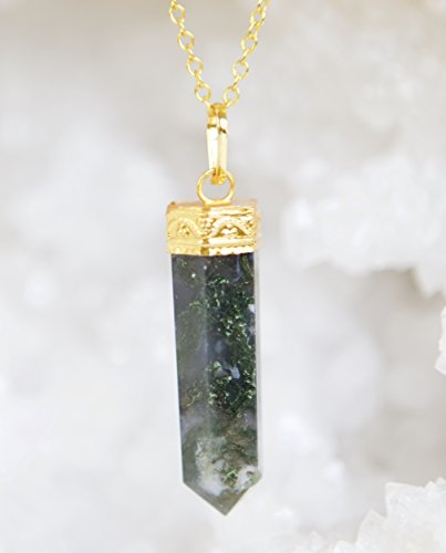 Pencil Point Moss Agate Gold Plated Necklace - 24