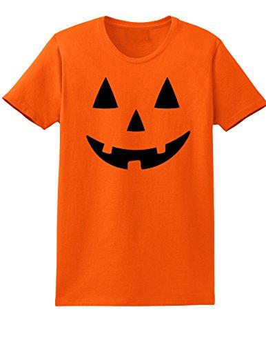 [Ladies Jack O Lantern Halloween Costume Pumpkin Face T-shirt - Small - Orange] (Manly Halloween Costumes)