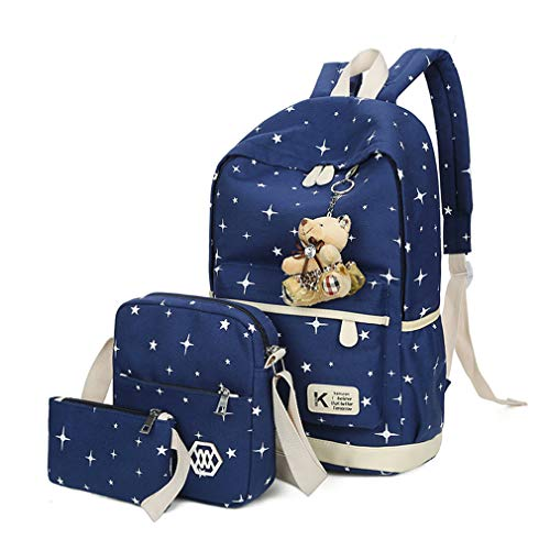 Blue Cute Bear Sets 3Pcs Canvas Girl Green Women Backpacks L25cm H43cm Bags W12cm School q6TqOw