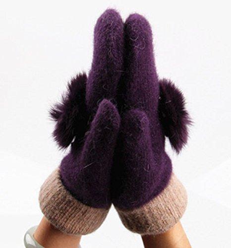 yabinaレディース100 % Pureカシミアファー厚いミトン手袋