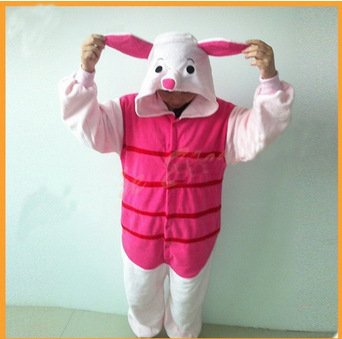 Polar polar rosa oreja cerdo dibujos animados una pieza pijamas lindo pijama hombres amantes cosplay traje
