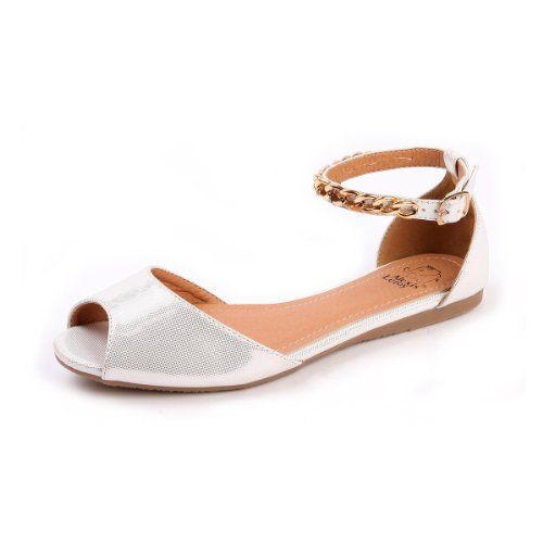 Peep Toe Buckle Sandals - Alexis Leroy Women's Stylish Shiny Glitter Peep Toe Chains Studded Ankle Strap Buckle Flat Dress Sandals (38 M EU / 7-7.5 B(M) US, White)