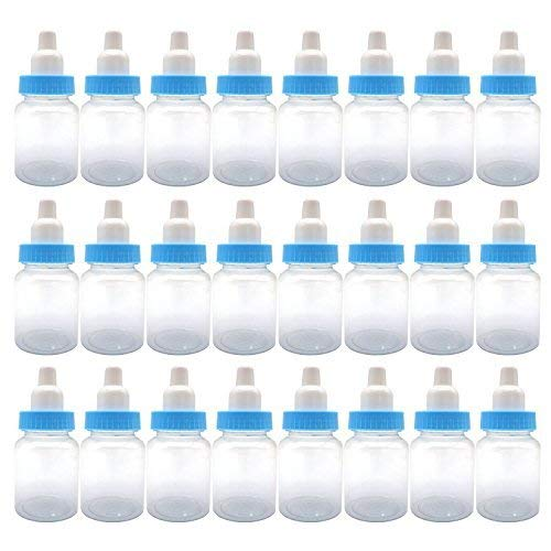 3.5-Inches Baby Bottle Shower Favor,Mini plastic candy bottle,Baby shower supplies Boy girl newborn baby baptism birthday party decor,blue(Pack of 24) -