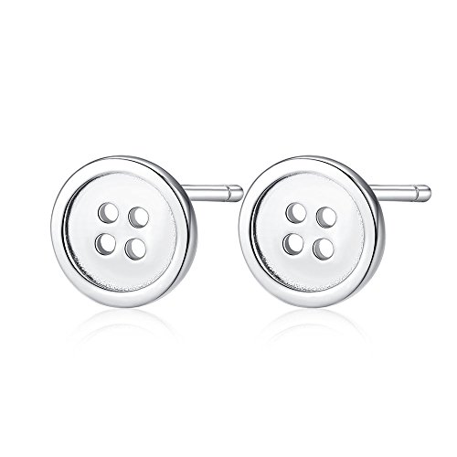 Hypoallergenic 925 Sterling SIlver Tiny Round Button Stud Earrings Minimalist Jewelry For Women Men ()