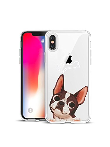 【CaserBay】 Crystal Clear iPhone Transparent Phone Case Soft Gel Silicone Cute Design Colorful Pattern Emboss Painting Flexible Slim Cover【Boston Terrier, Compatible with 6.5