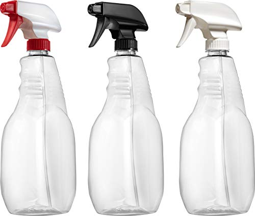 Spray Bottle Set Pack - Bar5F Plastic Spray Bottle Set, All Purpose for Home and Kitchen, Food Grade BPA-Free PETE1, 32 Ounce, Crystal Clear, N7 Sprayer - Spray/Steam/Off, Value Pack of 3