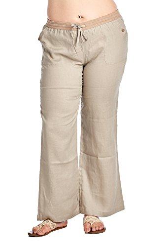 High Style Women's Plus Size Wide Leg 100% Linen Pants with Drawstring Detail (002A_P, VintageKhaki, 18W) -