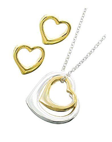 Two Tone Open Heart Charm Pendant Necklace Boxed Valentines Day (Box P2)