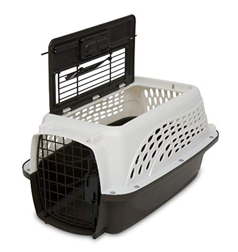 Petmate Two Door Top Load 19-Inch Pet Kennel, Metallic Pearl White and Coffee Ground Bottom