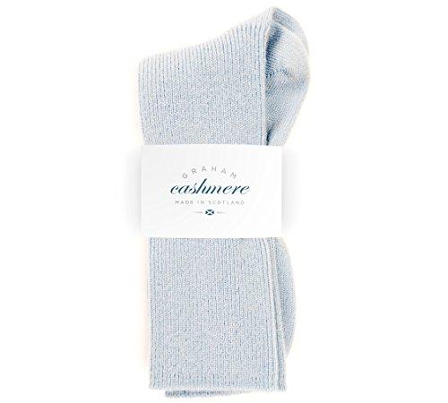 Graham Cashmere Women's Cashmere Rib Socks Gift Boxed One Size Blue