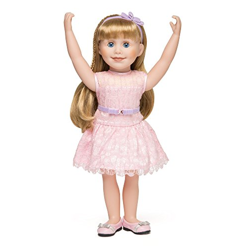 Maplelea Graceful Lace Outfit for 18 Inch Doll - Pink Lace Party Dress with Purple Velvet Trim, Hairband and Pink Shoes (Dress Traditions Velvet Holiday)