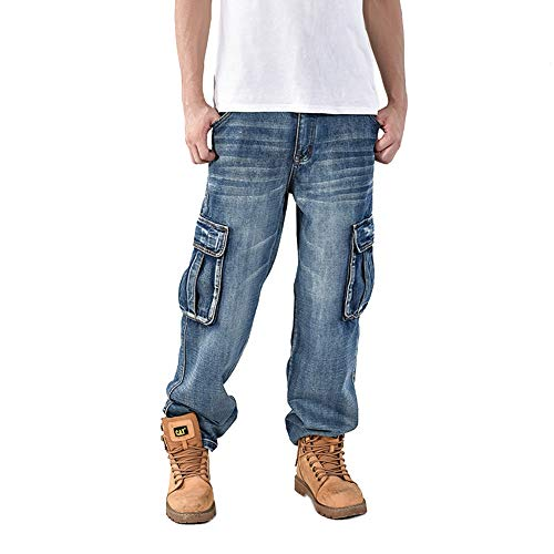 Ruiatoo Men's Jeans Denim Work Cargo Pants Loose Hip Hop Big & Tall Jeans with Cargo Pockets 36